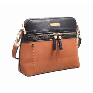 Ladies Cross Body Bag With Front Zip Pocket Black