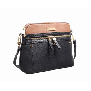 Ladies Cross Body Bag With Front Zip Pocket Navy And Tan