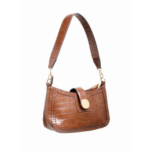 Ladies Shoulder Bag With Faux Croc Detail Coffee