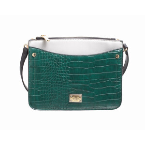 Bag Triple Zip Croc Panel Green