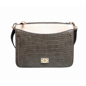 Bag Triple Zip Croc Panel Grey