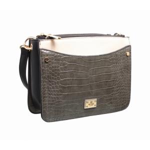 Bag Triple Zip Croc Panel Grey