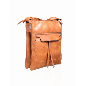 Ladies Cross Body Satchel Bag Tan