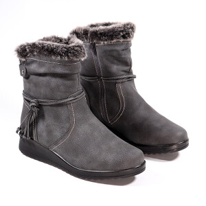 Ladies Ankle Boot Fur Lined Side Tie Grey