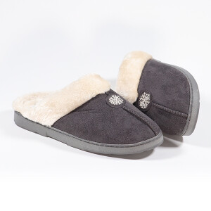 Ladies Mule Slipper With Snowflake Patch Detail Charcoal