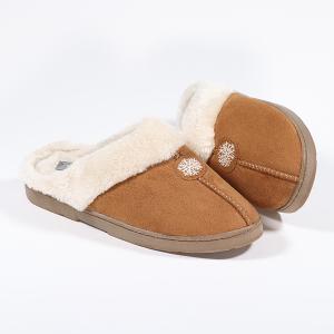 Ladies Mule Slipper With Snowflake Patch Detail Cognac