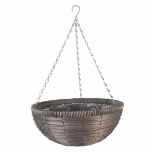 Slate Faux Rattan Hanging Basket