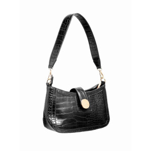Ladies Shoulder Bag With Faux Croc Detail Black