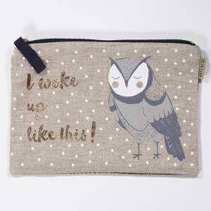 Cotton Cosmetic Purse With Printed Owl Design