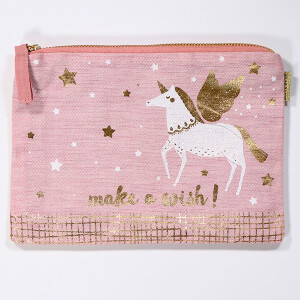 Cotton Cosmetic Purse With Printed Unicorn Design