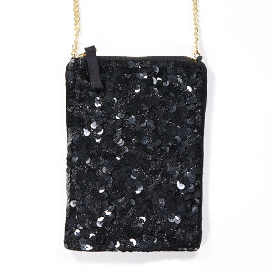 Velvet Bag With Sequins And Chain Strap Black
