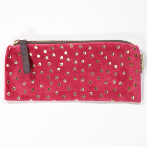 Slim Velvet Purse With Pretty Embroidered Motif Spotty Raspberry