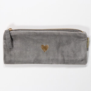 Slim Velvet Purse With Pretty Embroidered Motif Heart Grey