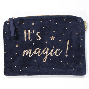 Pretty Velvet Cosmetic Purse With Embroidered Motif Magic Black
