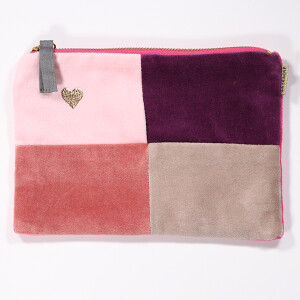 Purse Cosmetic Velvet Colour Block Multi