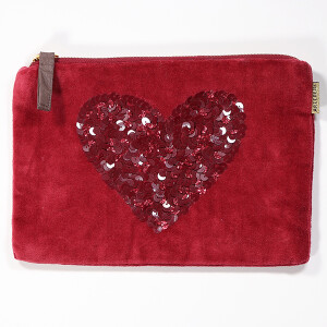 Pretty Velvet Cosmetic Purse With Sequin Motif Heart Raspberry