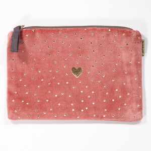 Purse Cosmetic Velvet Heart Dot Pink