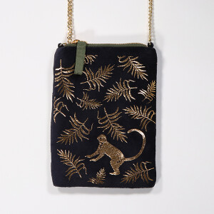 Velvet Bag With Embroidered Leaf And Chain Strap Black