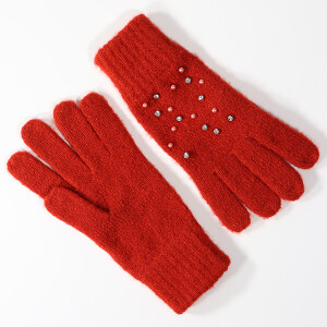 Ladies Glove With Embellishment Detail Rust