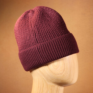 Men's Ribbed Beanie Hat Berry
