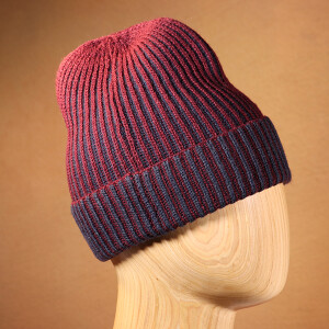 Mens Hat Ribbed Beanie Navy Berry