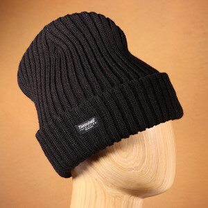 Men's Ribbed Thinsulate Beanie Hat Black