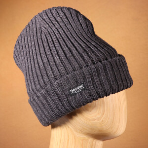 Men's Ribbed Thinsulate Beanie Hat Charcoal