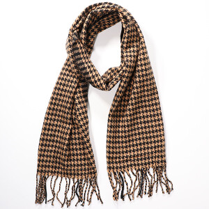 Men's Houndstooth Scarf Camel