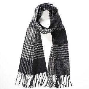 Men's Lightweight Checked Scarf Black