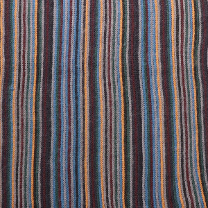 Men's Multi Coloured Stripe Scarf With Fringe Trim Ochre