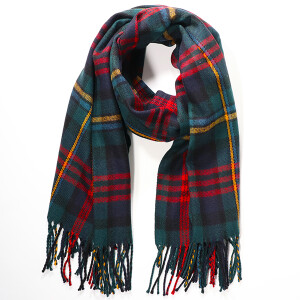 Men's Woven Check Scarf With Fringe Trim Multi