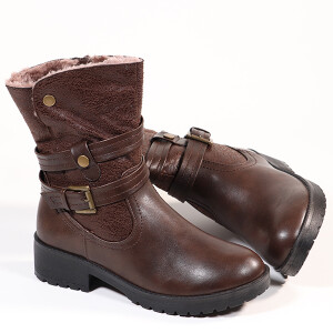 Ladies Boot Chunky Sole Fleece Lined Brown