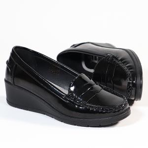 Ladies Loafer With Wedge Heel Lightweight Black