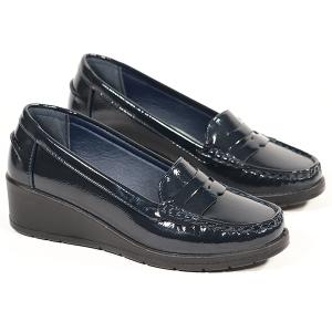 Ladies Loafer With Wedge Heel Lightweight Navy