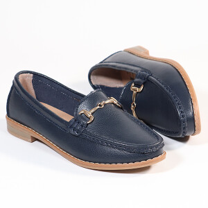 Ladies Classic Loafer With Snaffle Bar Trim Navy
