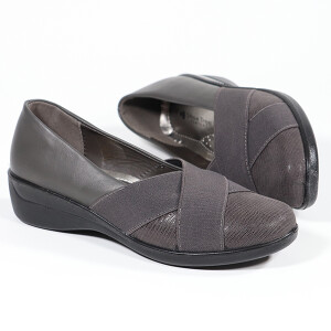 Crossover Front Detail Comfort Shoe Grey