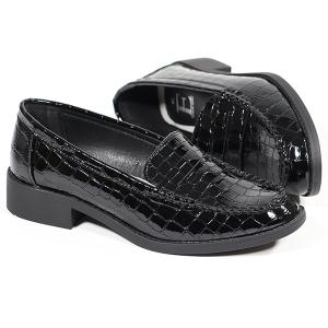 Ladies Classic Loafer In Mock Croc Black
