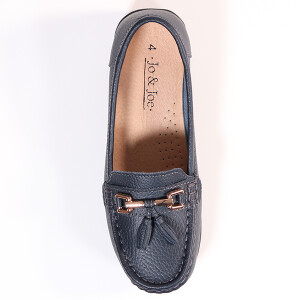 Classic Slip On Leather Loafer Navy