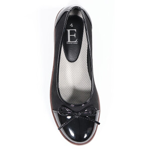 Ladies Ballet Pump With Contrasting Patent Detail Black