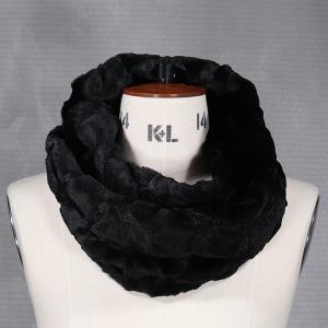 Ladies Faux Fur Double Wrap Snood Black