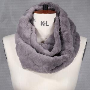 Ladies Faux Fur Double Wrap Snood Grey