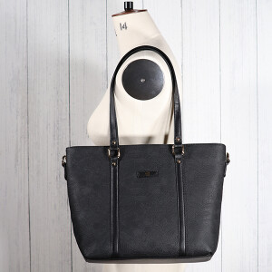 Flocked Floral Tote Bag Charcoal