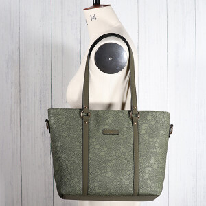 Flocked Floral Tote Bag Olive