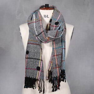 Ladies Woven Check Brushed Scarf With Spot