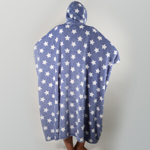 Bold Star Print Snuggle Poncho Blue