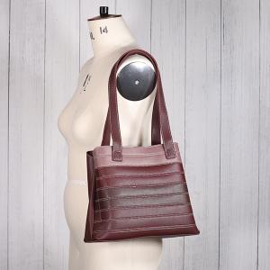 Ladies Contrast Stripe Shoulder Bag Navy