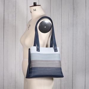 Ladies Contrast Stripe Shoulder Bag Burgundy