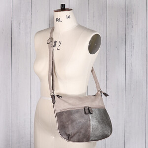 Ladies Cross Body Saddle Bag Taupe Metallic