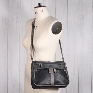 Ladies Twin Zip Shoulder Bag Black
