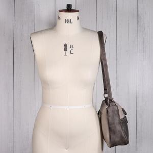 Ladies Twin Zip Shoulder Bag Taupe Metallic